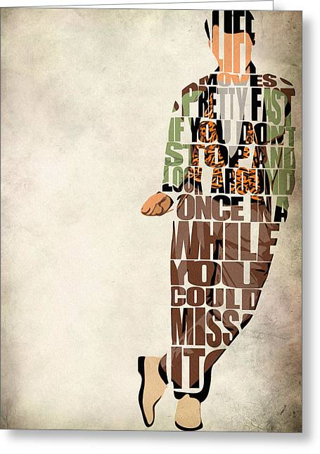 Typographic Greeting Cards - Ferris Buellers Day Off Greeting Card by Ayse Deniz