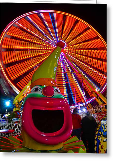 Ferris Wheel Night Photography Greeting Cards - Ferris the Clown Greeting Card by David Lee Thompson