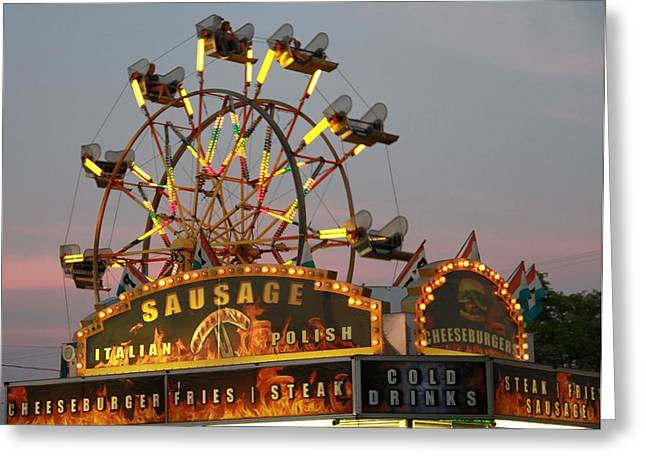 French Fries Greeting Cards - Ferris Wheel And Fair Food Greeting Card by Dan Sproul