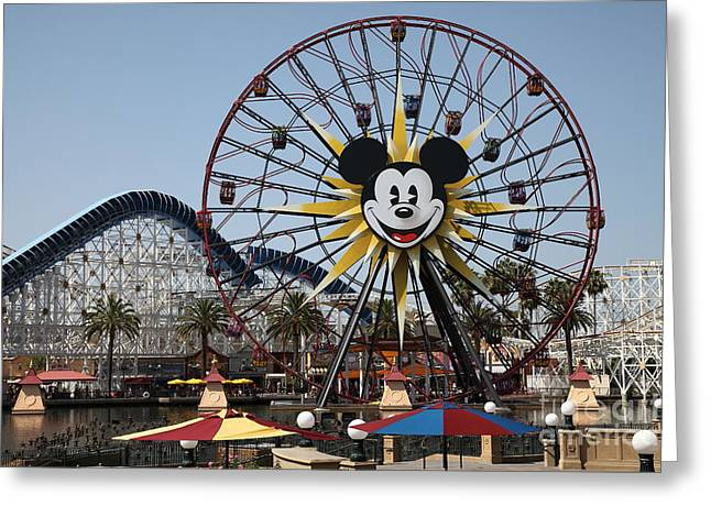 Ferris Wheel And Roller Coaster - Paradise Pier - Disney California Adventure - Anaheim California - Greeting Card by Wingsdomain Art and Photography