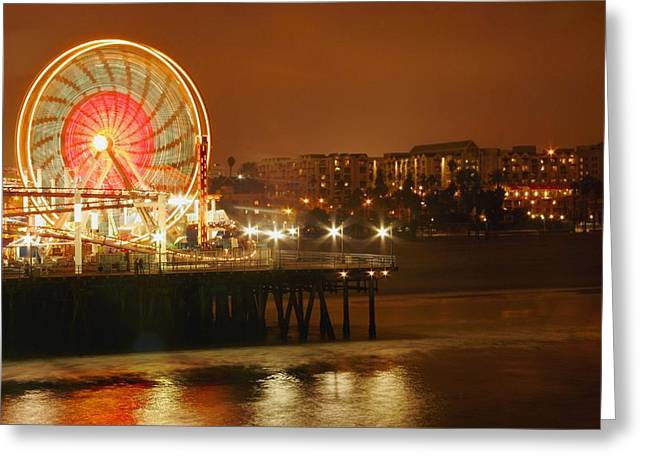 Light And Dark Greeting Cards - Ferris Wheel At Night Greeting Card by Leah Hammond