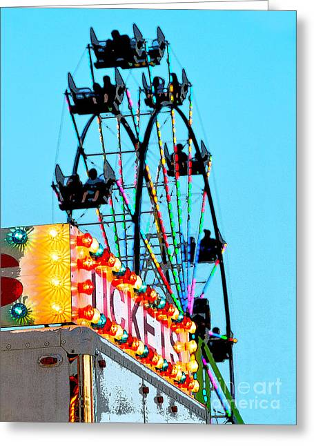 Catherine Wheel Greeting Cards - Ferris Wheel at the County Fair Greeting Card by Catherine Sherman