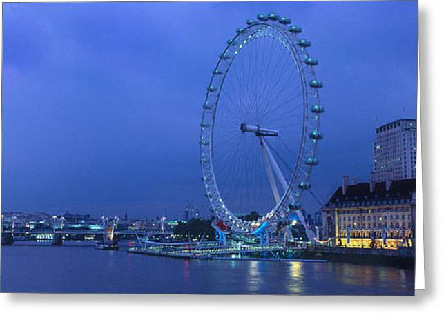 South Bank Greeting Cards - Ferris Wheel At The Waterfront Greeting Card by Panoramic Images