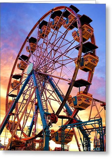 Amusement Park Ride Greeting Cards - Ferris Wheel Dream Greeting Card by Olivier Le Queinec