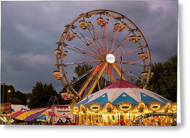 Ferris Wheel Fairground Ride Greeting Card by Jim West