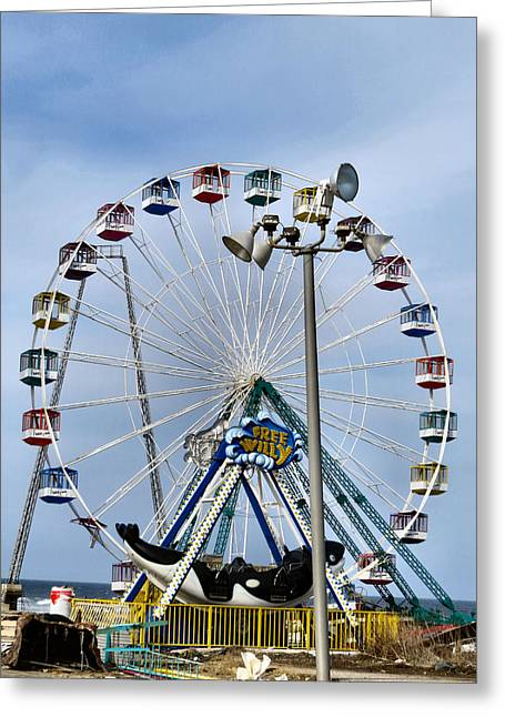 Hurricane Sandy Photographs Greeting Cards - Ferris Wheel Forgotten Greeting Card by Michelle Milano