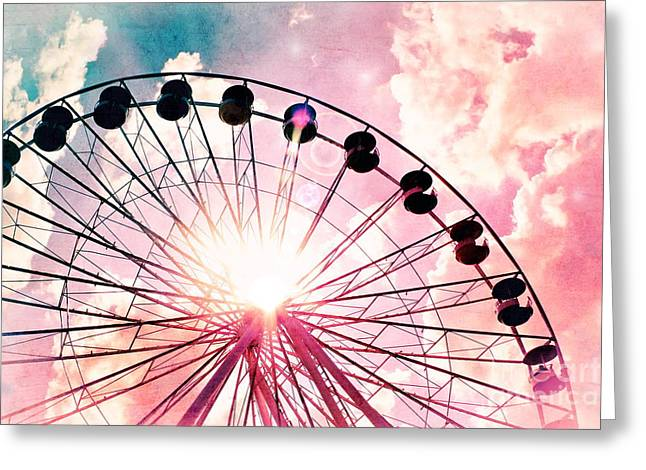Original Photographs Greeting Cards - Ferris Wheel in Pink and Blue Greeting Card by Colleen Kammerer