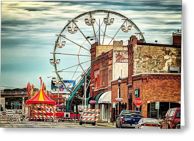 Steamboat Digital Art Greeting Cards - Ferris Wheel in Winona Greeting Card by Al  Mueller