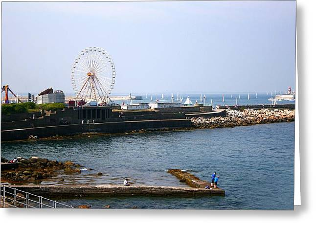 Boats In Harbor Greeting Cards - Ferris Wheel Greeting Card by Veronica Vandenburg