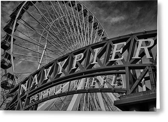 Chicago Black White Greeting Cards - Ferris Wheel Navy Pier Greeting Card by Mike Burgquist
