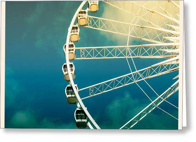 Turquoise Pastel Greeting Cards - Ferris wheel old photo Greeting Card by Jane Rix