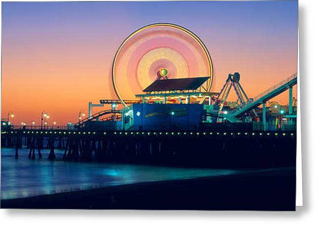 Amusement Park Ride Greeting Cards - Ferris Wheel On The Pier, Santa Monica Greeting Card by Panoramic Images