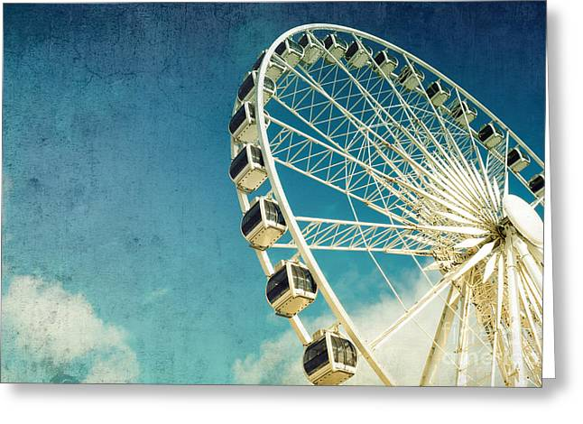 Turquoise Pastel Greeting Cards - Ferris wheel retro Greeting Card by Jane Rix