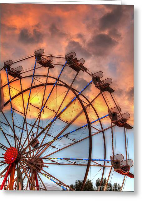 Eddie Yerkish Greeting Cards - Ferris Wheel Sunset Greeting Card by Eddie Yerkish