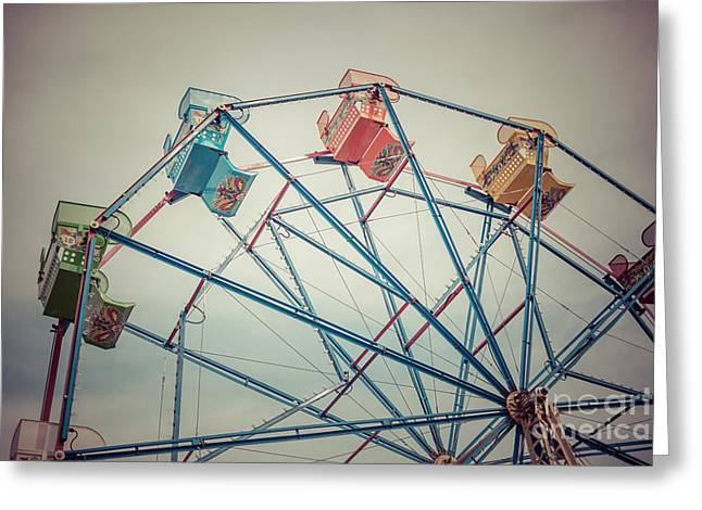 Ferris Wheel Vintage Photo In Newport Beach California Greeting Card by Paul Velgos