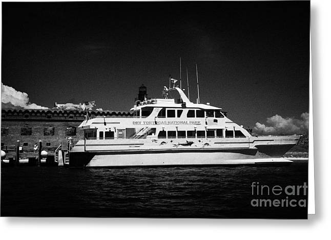 Dry Tortugas National Park Greeting Cards - Ferry And Dock At Fort Jefferson Dry Tortugas National Park Florida Keys Usa Greeting Card by Joe Fox