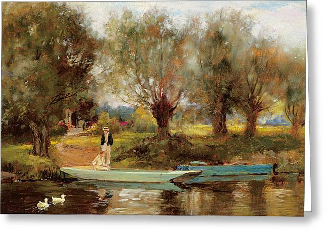 River Paintings Greeting Cards - Ferry at Clifton Greeting Card by Henry John Yeend King