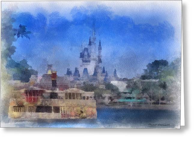 Hospital Theme Greeting Cards - Ferry Boat Magic Kingdom And Castle WDW 01 Photo Art Greeting Card by Thomas Woolworth