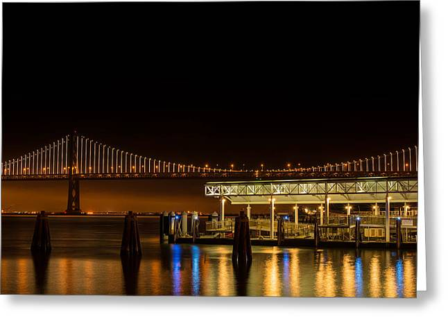 San Francisco Bay Greeting Cards - Ferry Building and Bay Bridge Greeting Card by Mike Gifford