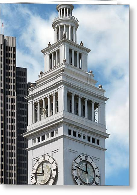 Old Fashoined Photographs Greeting Cards - Ferry Building Clock Tower Greeting Card by Jo Ann Snover