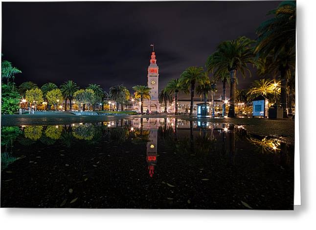Ferry Building Greeting Cards - Ferry Building Water Reflection  Greeting Card by David Yu