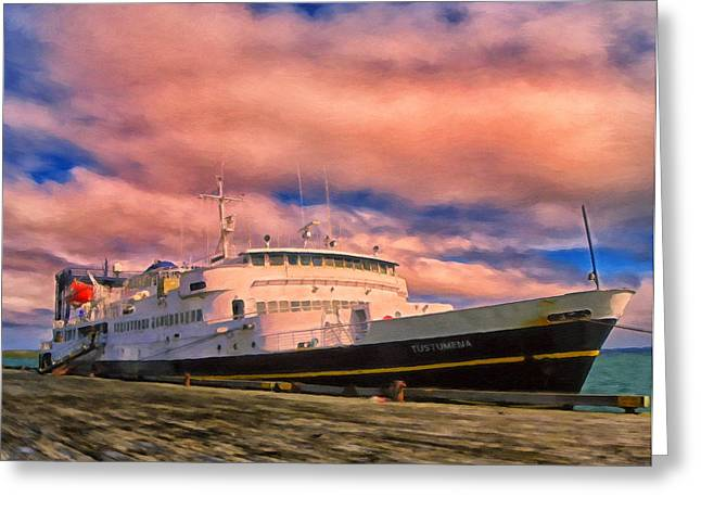 Ferry Dockside At Cold Bay Greeting Card by Michael Pickett