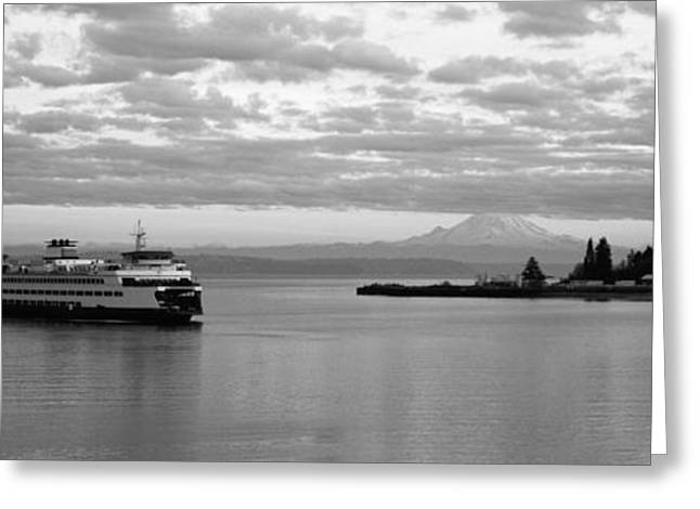 Bainbridge Island Greeting Cards - Ferry In The Sea, Bainbridge Island Greeting Card by Panoramic Images