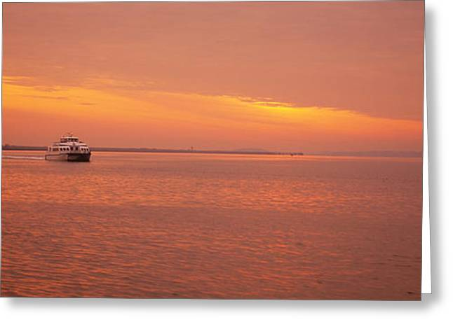Water Vessels Greeting Cards - Ferry Moving In The Sea At Sunrise Greeting Card by Panoramic Images