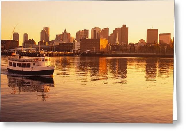 Boston Harbor Greeting Cards - Ferry Moving In The Sea, Boston Harbor Greeting Card by Panoramic Images
