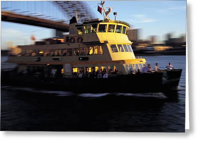 Boats On Water Greeting Cards - Ferry Passing Under A Bridge, Sydney Greeting Card by Panoramic Images