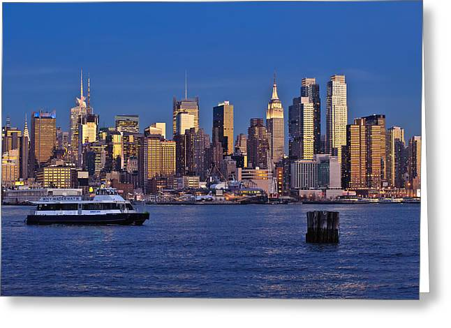 D700 Greeting Cards - Ferry past Manhattan Greeting Card by Mitchell R Grosky