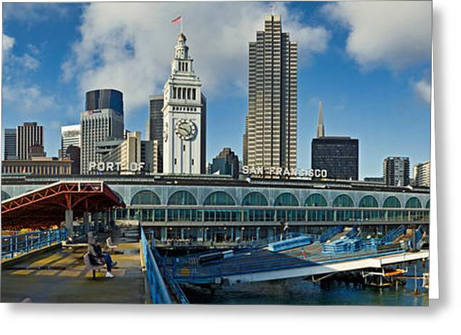 Ferry Building Greeting Cards - Ferry Terminal With Skyline At Port Greeting Card by Panoramic Images