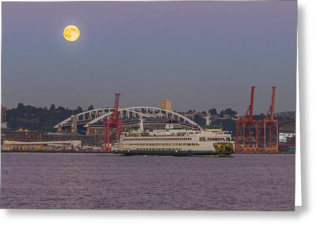 Dusk Greeting Cards - Ferry under a full moon Greeting Card by Scott Campbell