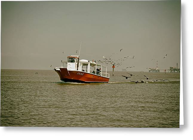 Production Industry Greeting Cards - Ferry with Oil Rig in background - Mobile Bay Greeting Card by Mountain Dreams