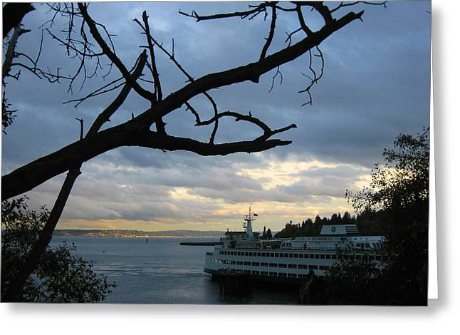 Bainbridge Island Greeting Cards - Ferryboat To Seattle  Greeting Card by Kym Backland