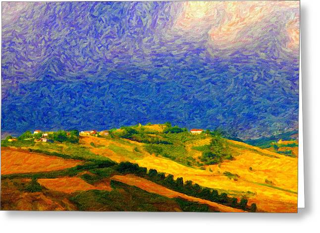 Blue Grapes Photographs Greeting Cards - Fertile Earth and Fermenting Sky Greeting Card by Chuck Mountain