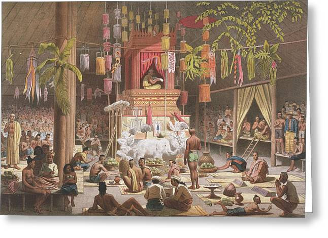 Gathering Drawings Greeting Cards - Festival In A Pagoda At Ngong Kair Greeting Card by Louis Delaporte