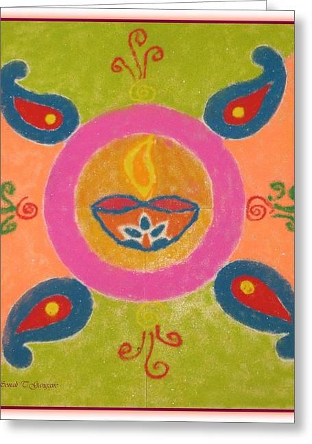Celebration Pastels Greeting Cards - Festival of Deepawali Greeting Card by Sonali Gangane