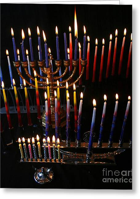 Hanuka Greeting Cards - Festival of Lights Greeting Card by Judith Rothenstein-Putzer