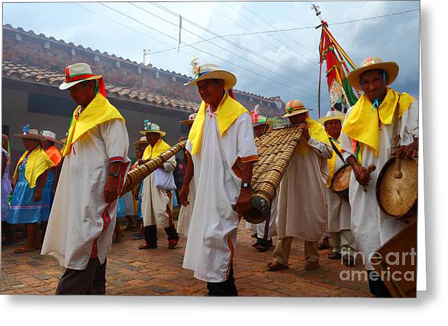 Panpipes Greeting Cards - Festival Parade in San Ignacio de Moxos Greeting Card by James Brunker