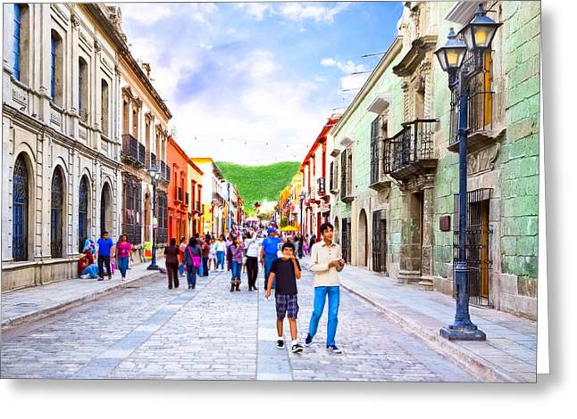 Oaxaca Greeting Cards - Festive Afternoon in Oaxaca - Historic Mexico Greeting Card by Mark Tisdale
