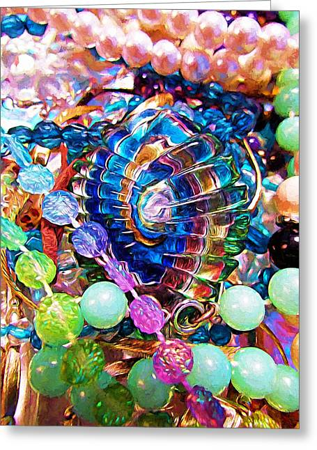 Glittery Jewelry Greeting Cards - Festive Beads Greeting Card by Shannon Story