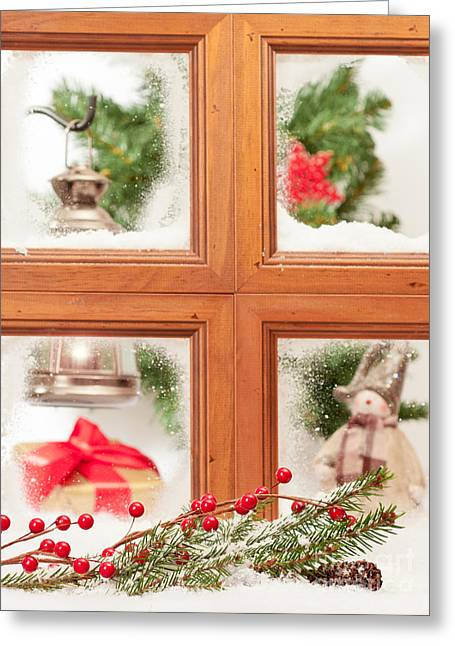 Spruce Cone Greeting Cards - Festive Christmas Window Greeting Card by Amanda And Christopher Elwell