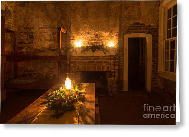 Night Lamp Greeting Cards - Festive Evening at Fort Clinch Amelia Island Florida Greeting Card by Dawna  Moore Photography