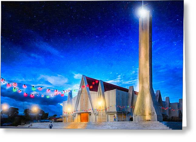 Costa Greeting Cards - Festive Evening On The Main Square - Liberia Costa Rica Greeting Card by Mark Tisdale