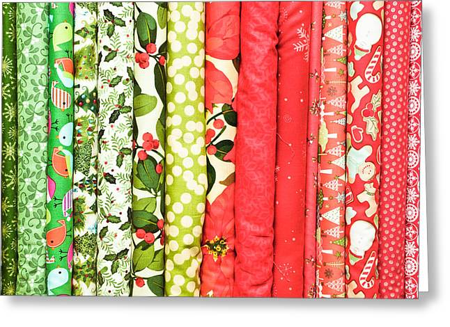 Boutique Design Greeting Cards - Festive fabric Greeting Card by Tom Gowanlock