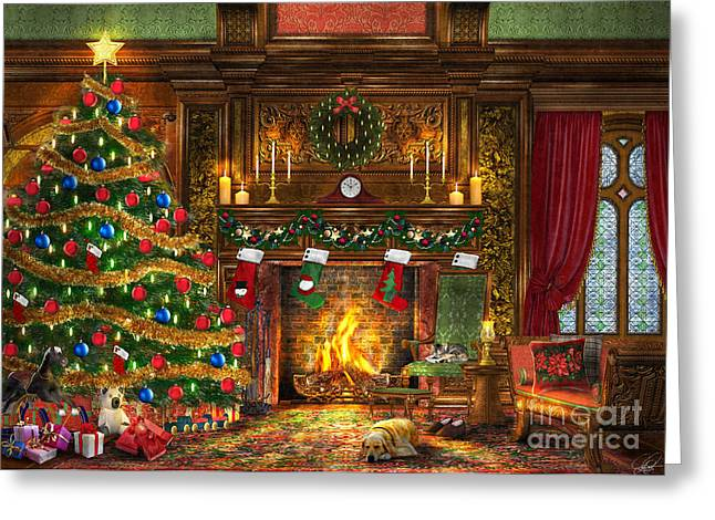 Coloured Greeting Cards - Festive Fireplace Greeting Card by Dominic Davison