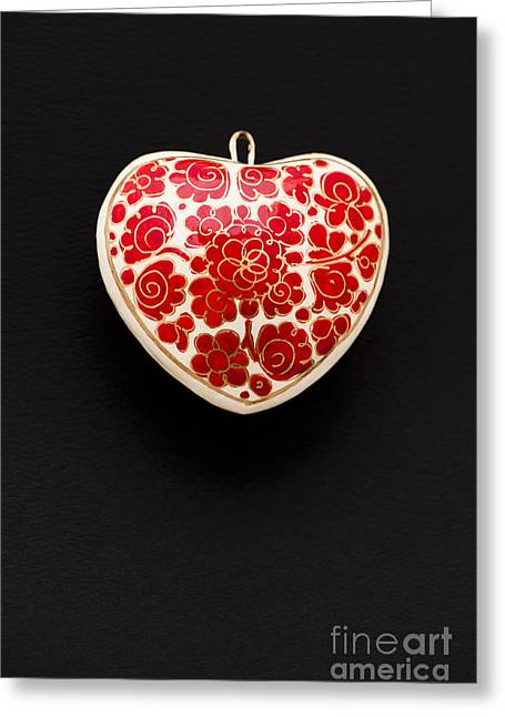 Papier Mache Greeting Cards - Festive Heart Greeting Card by Anne Gilbert
