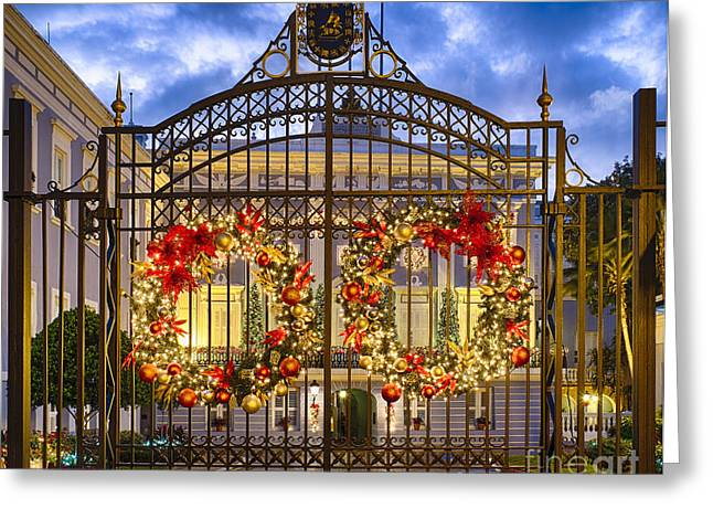 Old San Juan Greeting Cards - Festive Mansion Gate Greeting Card by George Oze