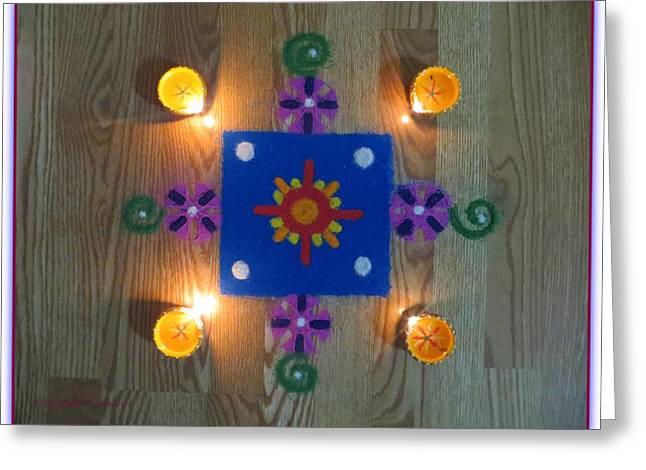 Gift For Pastels Greeting Cards - Festive Rangoli Greeting Card by Sonali Gangane